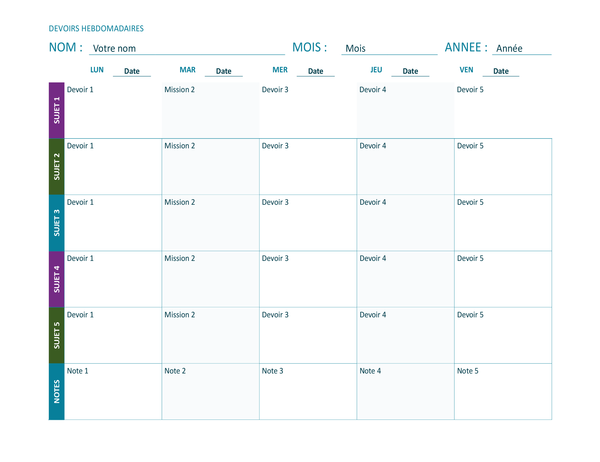Weekly assignment sheet (color, landscape)