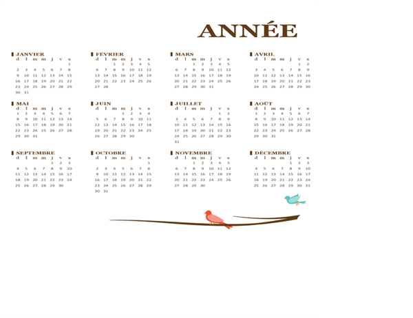 Calendrier annuel2018 (dim-sam)