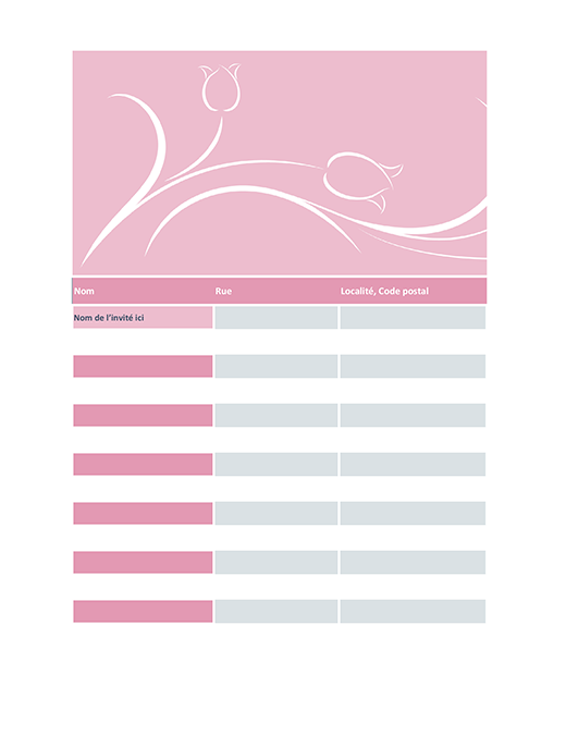 Wedding guest list (tulip design)