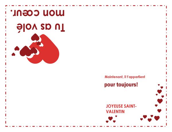 Valentine's Day card (heart design, quarter-fold)