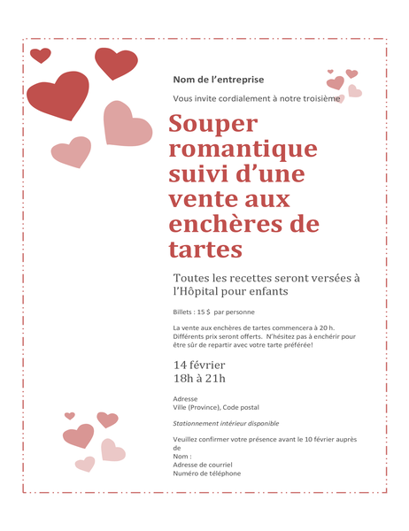 Valentine's Day sweetheart pie auction invitation