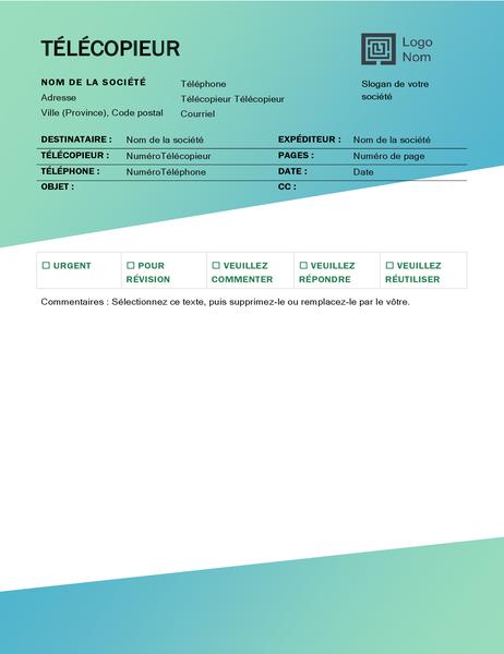 Page de garde de télécopie (conception avec dégradé de verts)
