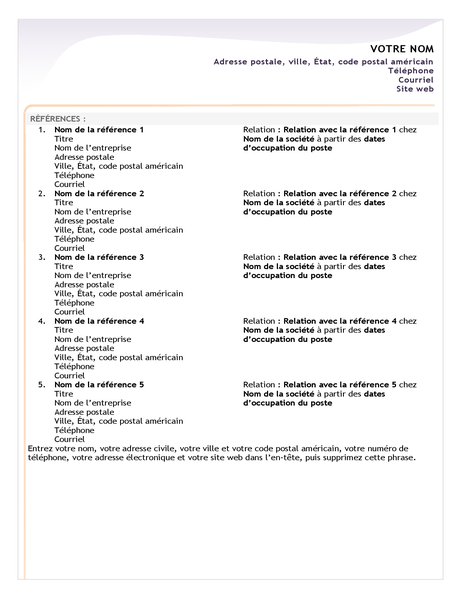 Entry-level resume reference sheet