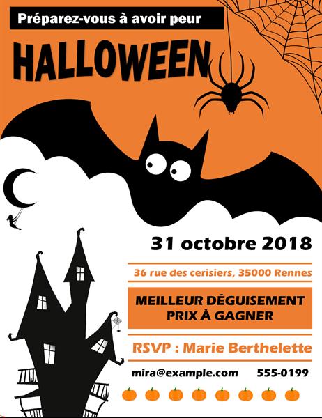 Spooky bat Halloween party flyer