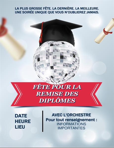 Prospectus de fête de remise de diplôme avec boule à facettes