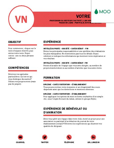 Polished resume, designed by MOO