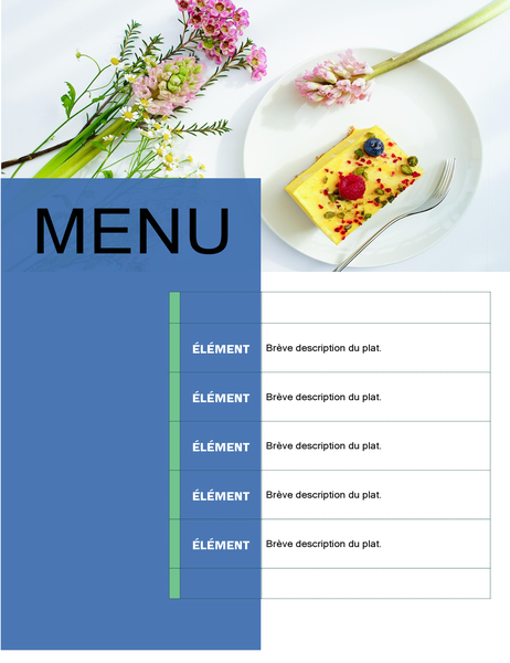 Menu de fête (conception florale)