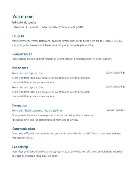 Resume (chronological)