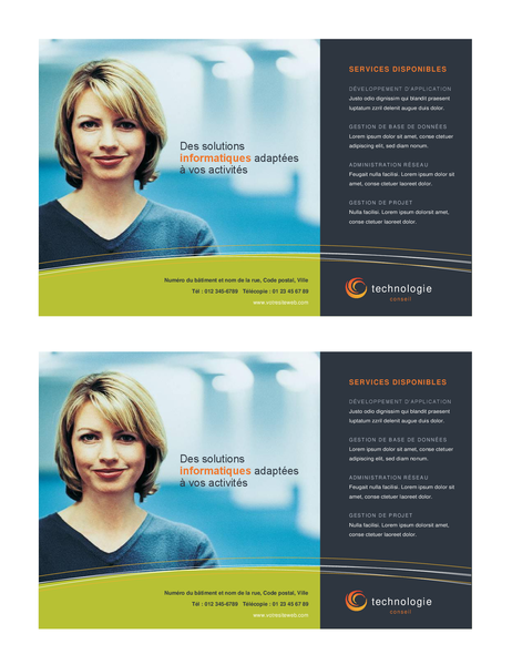 Technology business flyer (half-page, 2 per page)