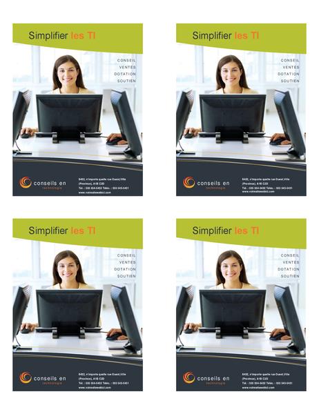 Prospectus d'entreprise en technologie (quart de page, 4 par page)