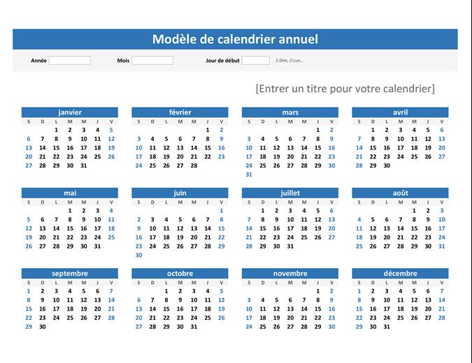 Any year at a glance calendar (landscape)
