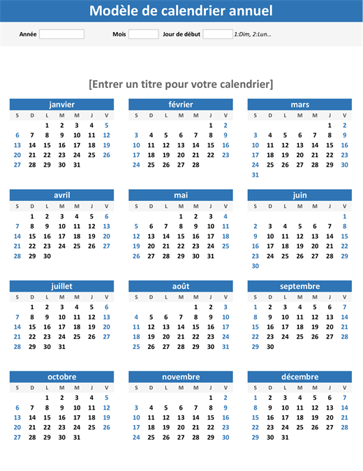 Any year at a glance calendar (portrait)