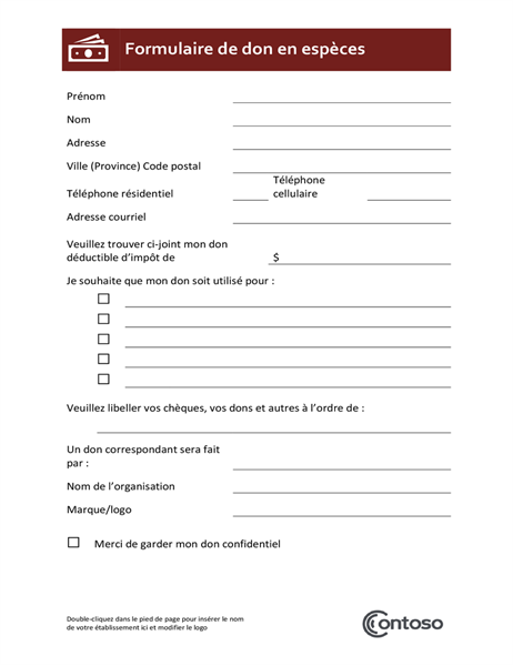 Cash donation form