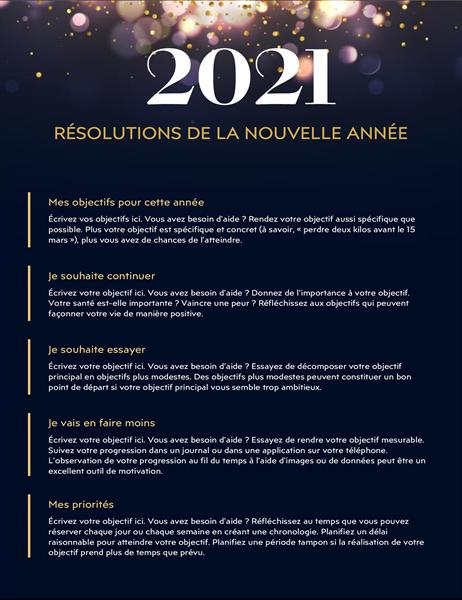 Feuille de calcul de résolutions du Nouvel An