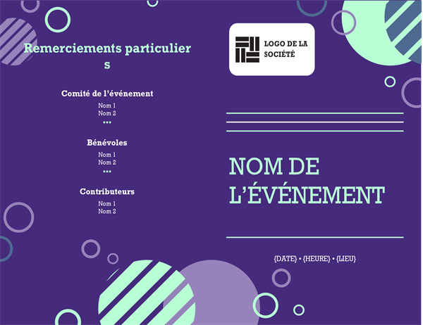 Programme de l'événement d'entreprise