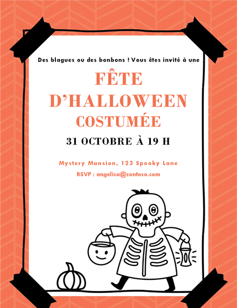 Invitation Squelette d'Halloween
