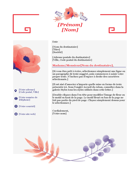 Pink floral cover letter