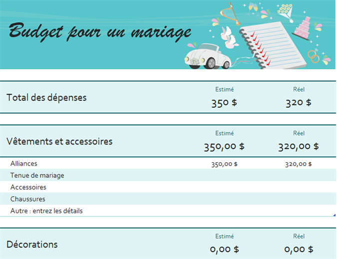 Wedding budget expenses comparison