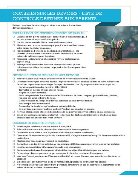 Homework tips checklist