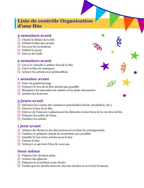 Party planning checklist
