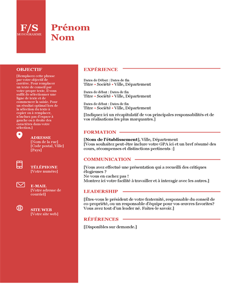 Bold monogram resume
