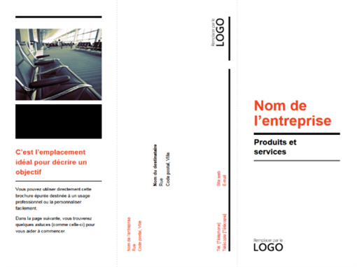Tri-fold business brochure (black, red design)