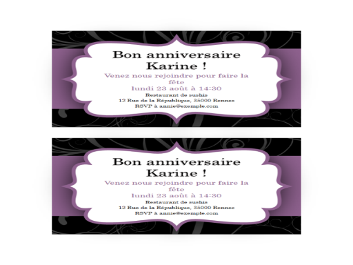 Invitation à une fête (conception de ruban violet)