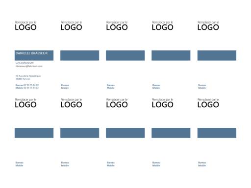 Cartes de visite, mise en page verticale avec logo (10 par page)