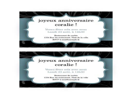 Invitation à une fête (conception «ruban bleu», 2par page)