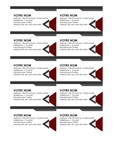 Cartes de visite Angles modernes