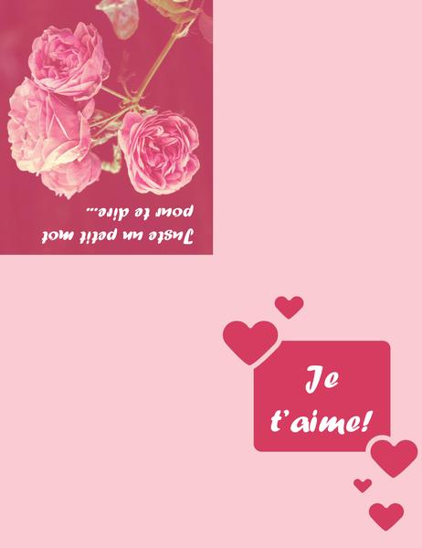 Carte romantique (pliable en quatre)