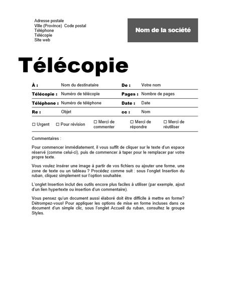 Bordereau de télécopie (conception professionnelle)