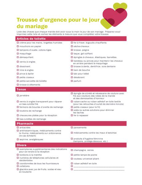 Liste de contrôle pour jour de mariage