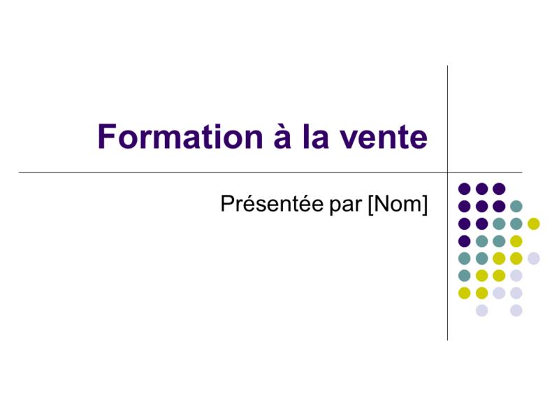 Diapositives de formation à la vente