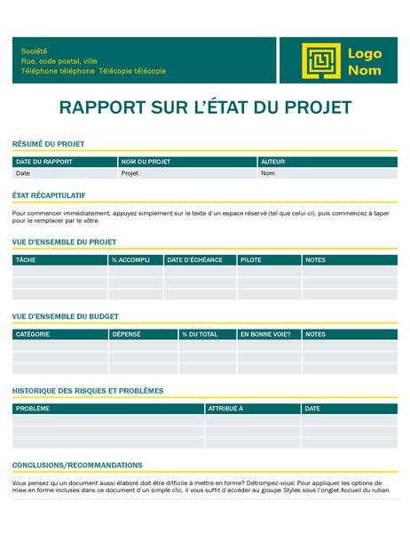Rapport de statut de projet (création intemporelle)