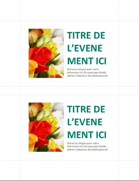 Cartes postales pour événements commerciaux (2 par page)