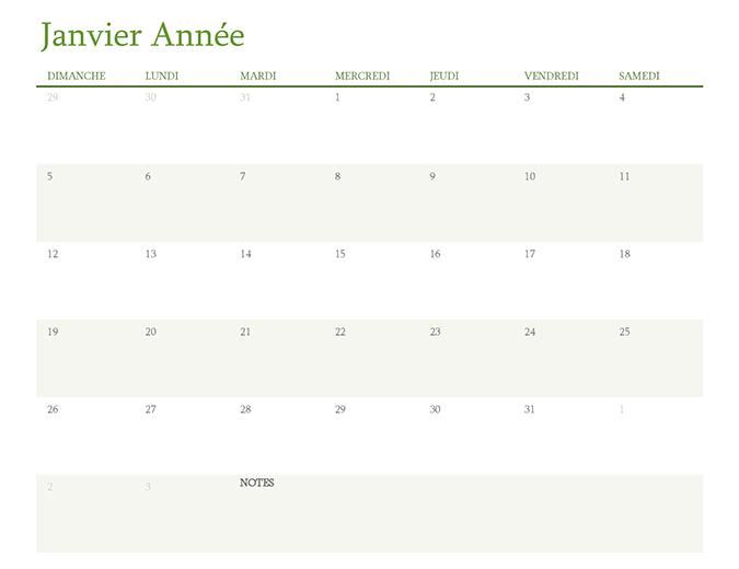 Calendrier annuel (1mois par onglet)