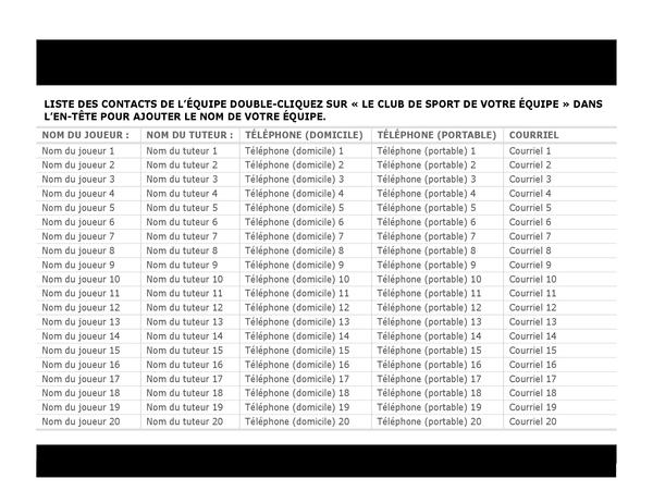 Liste de contacts pour équipe sportive