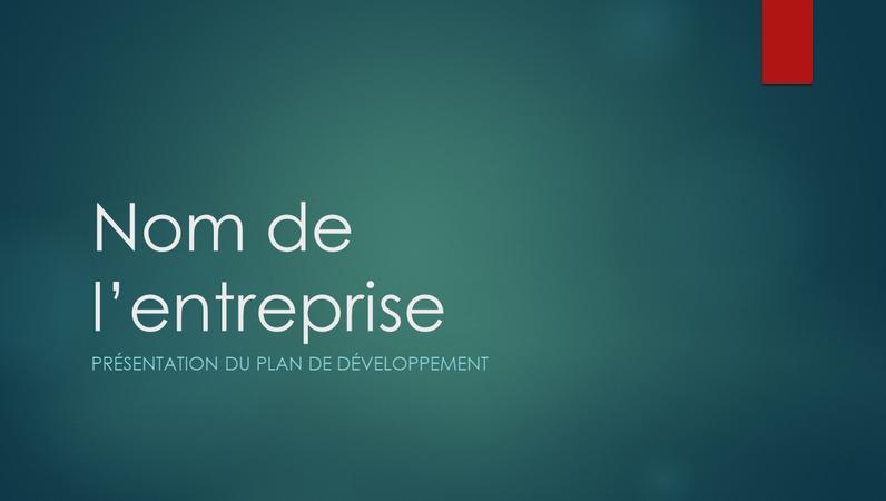 Présentation de plan de développement (conception verte Ion, grand écran)