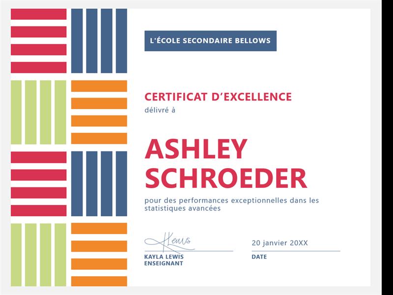 Certificat d'excellence pour élève