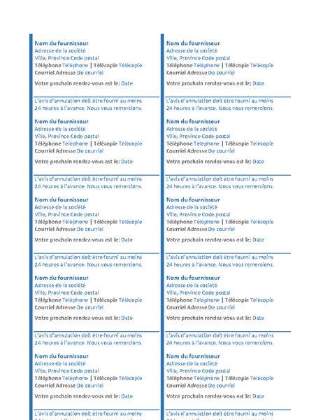 Cartes de rendez-vous (10 par page)