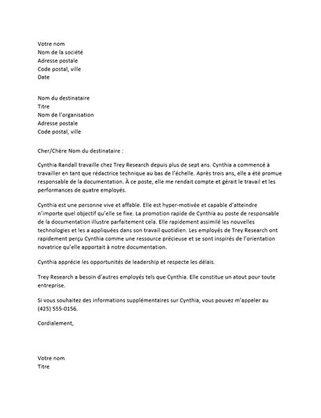 Lettre de référence pour un employé cadre