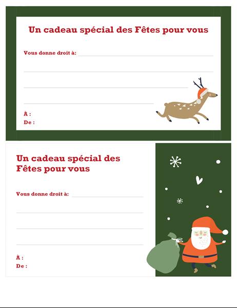 Bon-cadeau de Noël (conception Esprit de Noël)