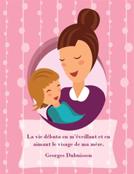 Carte de fête des Mères (illustrant une mère et son bébé, pliable en quatre)