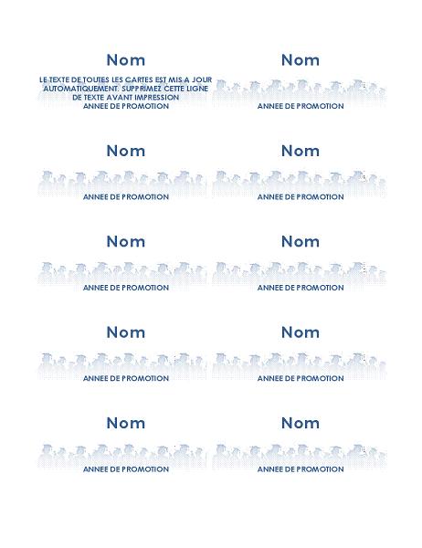 Cartes nominatives de remise de diplômes (10 par page)