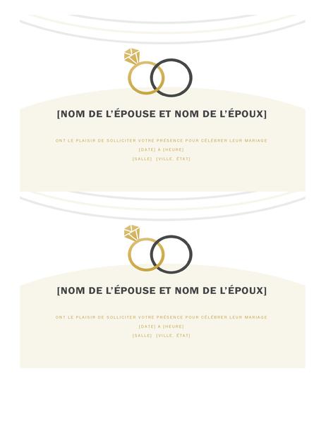 Faire-parts de mariage (conception Déco, 2 par page)