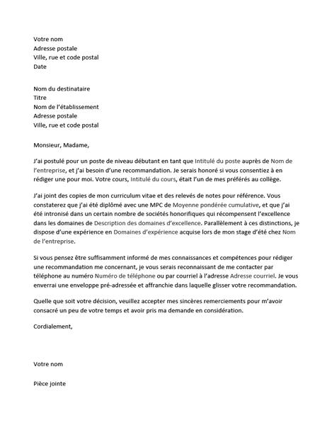 Lettre destinée à un professeur pour solliciter une recommandation d'embauche