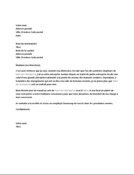 Lettre de démission suite à une fusion d'entreprises