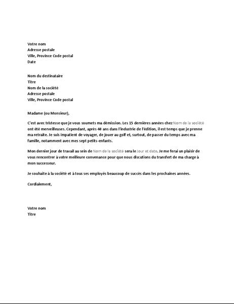 lettre de démission québec Lettre de démission suite à un départ à la retraite lettre de démission québec