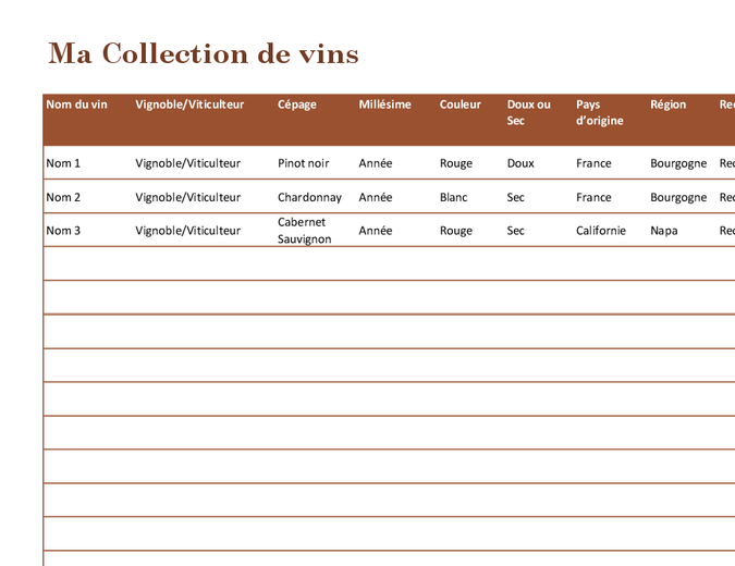 Liste Collection de vins
